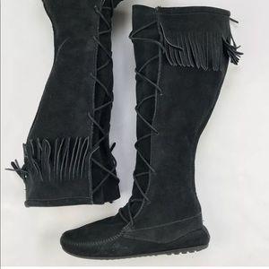 Minnetonka Moccasin knee high fringe Boots